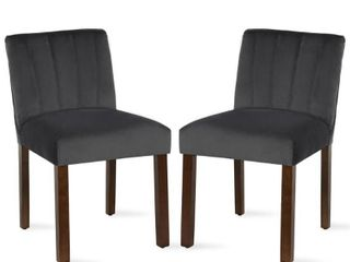 Dorel living Dallin Channel Back Parsons Charcoal Gray Dining Chair  Set of 2    MSRP  201 60