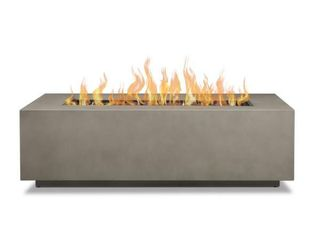 Real Flame Aegean 42 in  x 13 in  Rectangle Steel Propane Gas Fire Pit Table in Mist Gray with NG Conversion Kit   MSRP  766 99