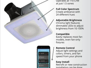 Broan NuTone ChromaComfort 110 CFM Ceiling Bathroom Exhaust Fan w  Customizable Multi Color lEDs and Smart Phone App   MSRP  179 00