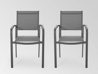 Christophe Knight Home Cape Coral 2pk Aluminum Modern Mesh Dining Chair Gun Metal Gray Dark Gray   MSRP  149 99
