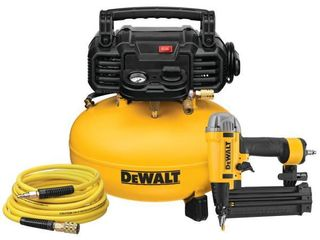 DEWAlT 6 Gal  18 Gauge Brad Nailer and Heavy Duty Pancake Electric Air Compressor Combo Kit   MSRP  229 00