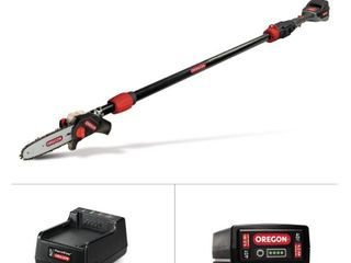 OREGON 8 in  40 Volt Electric Cordless Telescoping Pole Saw   4 0Ah Battery and Charger included   MSRP  307 22