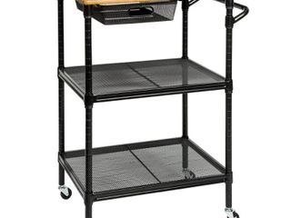 Honey Can Do Black Kitchen Cart with Natural Wood Top  MSRP  113 29