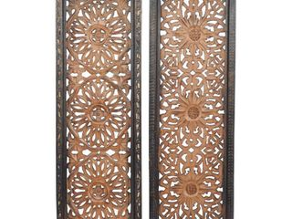 litton lane 36 in  x 12 in   Carved Rosette and Scrollwork  Framed Wooden Wall Art  Set of 2    MSRP  62 01