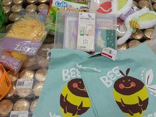 Stuffed Easter Bag  2 Drawstring Bags  egg dye kit  stationary kit  bunny ears  banner  eggs and grass