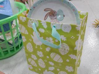 Home Decor Easter Bag  Plates  Egg Tree  Salt and Pepper Shakers  Rabbit Sculpture  Egg Banner
