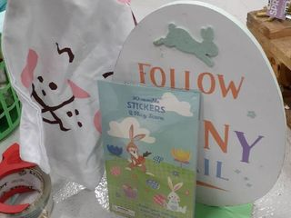 Easter Sign  Stickers  and Drawstring Bag