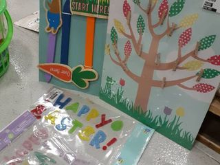 Easter Decor lot  2 Window Clings  Picture Board  Egg Hunt Signs