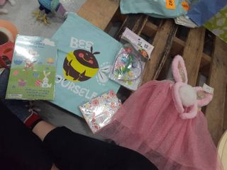 Easter Stuffed Bag  Bunny Ears and tutu with tail  craft ears kit  spring notepad  stickers  drawstring bag