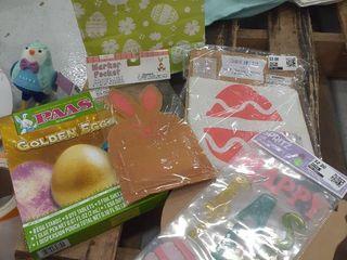 Easter lot Banner Kit  Egg Dying Kit  Window Clings  Marker Pocket  Snail Decor