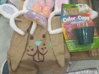 Easter lot  2 Bunny Ears  Color Cups  Eggs  Drawstring Bag
