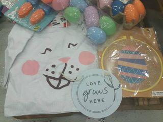 Easter lot  Eggs  Drawstring Bag  Embroidery Kit  Decor Sign  Eggs with Stickers