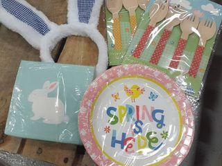 Easter Plates  Napkins  Forks  Bunny Ears In Gift Bag
