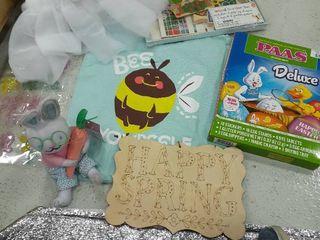 Easter lot  Drawstring Bag  Egg Dyeing Kit  Sign  Bunny with Glasses  Farm Set  Tutu