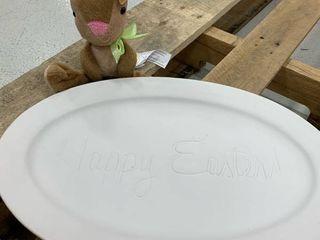 White Happy Easter Platter   Bunny Bundle