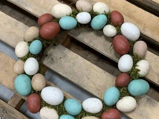 Egg Wreath in Earth Tones  needs cleaned  has some dents