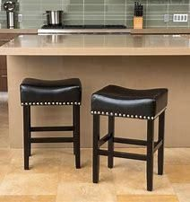 lisette 26 inch Backless Black leather Counter Stool Set of 2