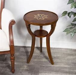 Butler Handmade Roud Wooden Burl Accent Table