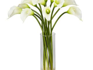 Silk 20 inch Mini Calla lily Flower Arrangement by Nearly Natural