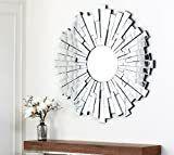 Abbyson Empire Burst Silver Round Wall Mirror