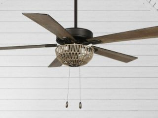 The Curated Nomad Carillon Woven Rope 5 Blade lED Ceiling Fan