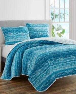 Ocean Stripe Coastal Blue Prewashed Reversible King Quilt Set