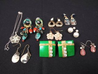 8 pairs of earrings and 1 costume jewelry necklace