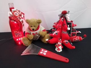 Nebraska Huskers Christmas tree  teddy bear and a light up bottle