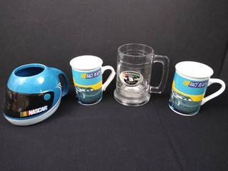 2 Dale Earndhardt Nascar cups and 2 Cars the movie coffee mugs