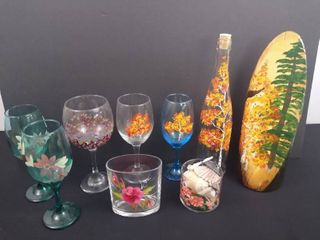 lot of hand painted floral home decor and 5 hand painted wine glasses