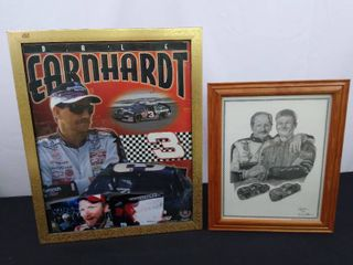 2 Dale Earnhardt hanging wall decor and 2 candid polaroids  large is 22 in H X 18 in W  small is 16 1 2 in H X 13 1 2 in W