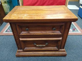 2 drawer wooden end table 22 in H X 26 in W X 16 in D