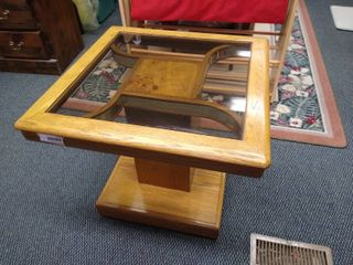Wooden end table with square glass top 22 in H X 26 in W X 26 in D