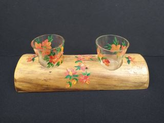 Hand painted matching shot glasses with matching wooden holder