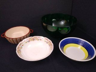 lot of 4 assorted glass bowls