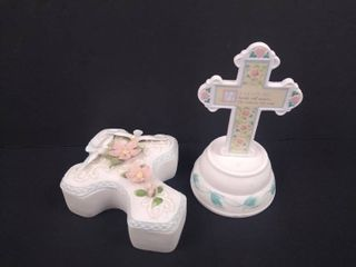 2 piece religious home decor  standing cross 6 1 2 in H  other is 2 in H