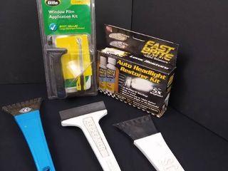 Gila window film application kit  Auto headlight restorer kit and 3 ice scrapers