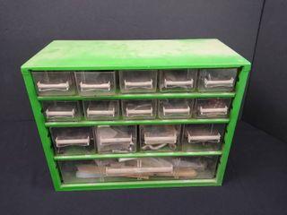 15 drawer small hardware bin 9 1 2 in H X 12 in W x 5 1 2 in D