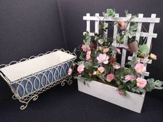 lot of 2 pieces of yard decor  planter   miniature trellis with faux flower bed  tallest is 17 1 2 in H