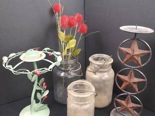 lot of 3 mason jars and 2 standing decorative candle stands  tallest is 12 1 2 in H