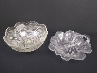 2 pieces of decorated glassware