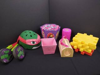 lot of misc  children s toys including a TNMT bike helmet and training wheels