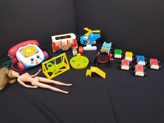 lot of children s toys including vintage Fisher Price little People cars helicopter bus W  2 people and a rolling phone