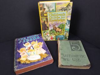 lot of 3 vintage books   The story of Jesus   Arithmetic we use  and  Children s guide to knowledge