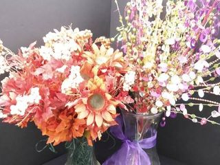 2 home decor vases with faux flower arrangements  tallest is 12 in without flowers