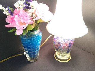 Small decorative glass table lamp   15 1 2 in H and a home decor vase with faux flower arrangement 9 1 2 in H without flowers