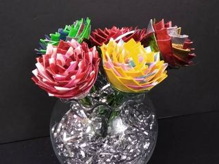 clear small vase with handmade duct tape flower pens  vase is 5 1 2 in H