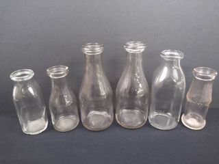lot of 6 vintage milk bottles  tallest is 9 1 2 in