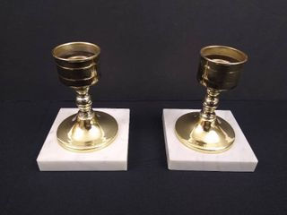 2 brass candle holders with marble bases