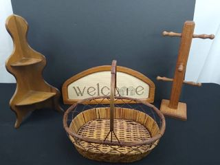 lot of 4 pieces of assorted wooden home decor including a basket  small corner shelf  cross stitch welcome hanging sign  tallest is 16 1 2 in H